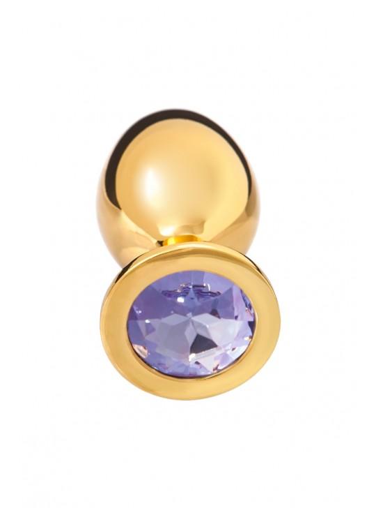 Анальная втулка, БОЛЬШАЯ Ø3.5см, золотая с нежно-фиолетовым кристаллом