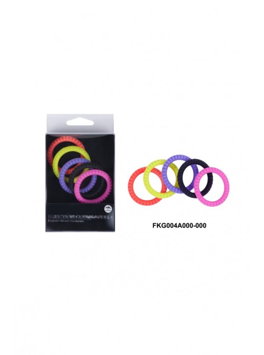 Эрекционные кольца NMC Erection Commander, силиконовые, цветные, диаметр 3,2 см, 5 шт.
